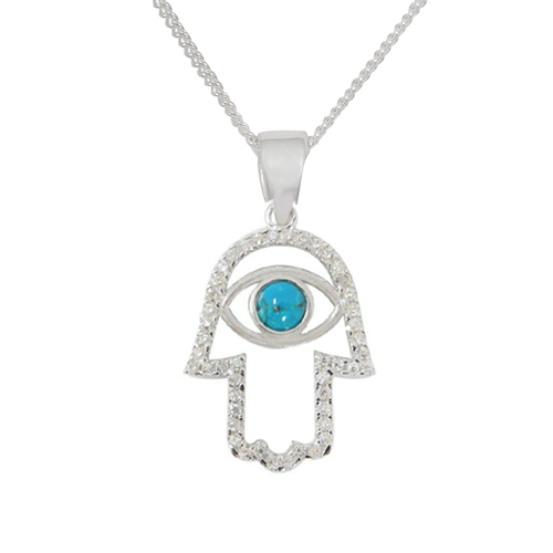 Devorah Micro Pave Hamsa Necklace-0