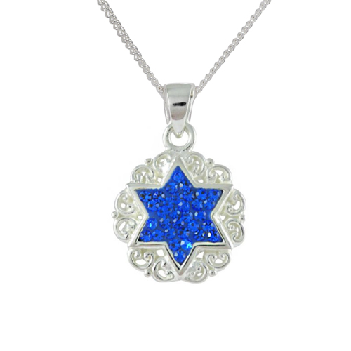 Esther Crystal Star of David Filigree Necklace-0