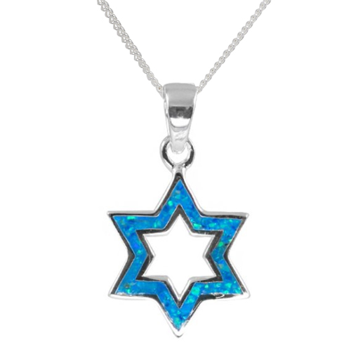 Hadassah Opal Star of David Necklace -0