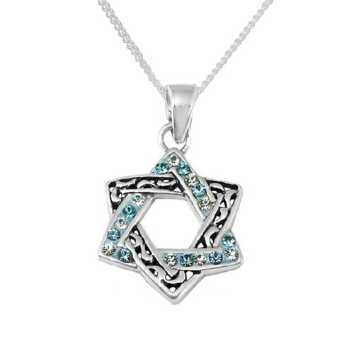 Kayla Crystal Star of David Necklace Engraved -0