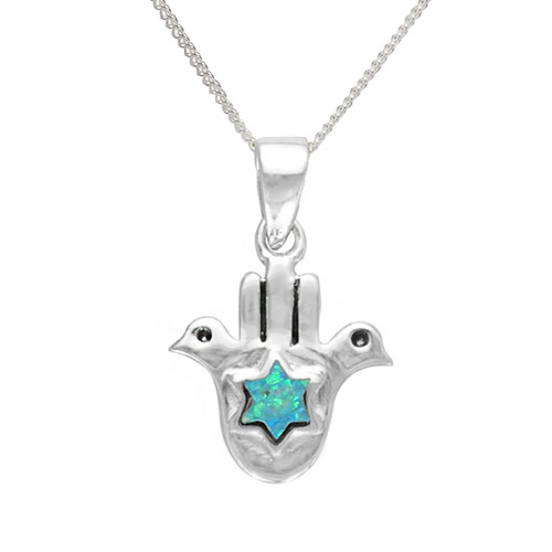 Tal Opal Star of David Necklace -0