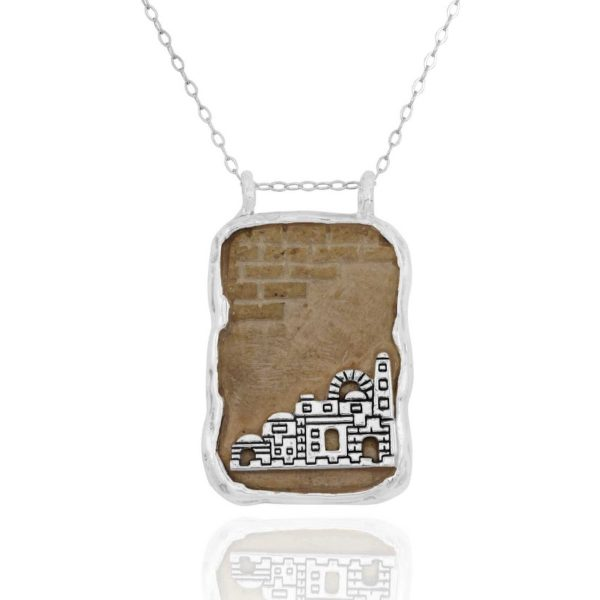 Jerusalem Stone Silver City of Jerusalem Necklace-0