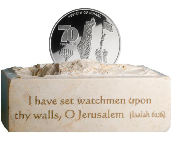 Independence Coin - 1 oz Silver with Stone Stand -0